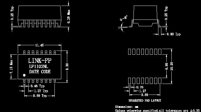 网络变压器/滤波器 lp1102nl